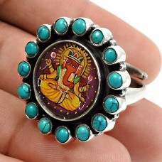 Turquoise Glass Ganesha Painting Ring 925 Sterling Silver Indian Temple Jewelry N39