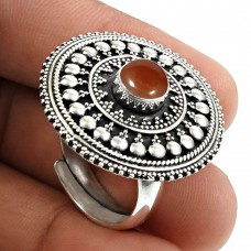Carnelian Gemstone Ring 925 Sterling Silver Ethnic Jewelry O39