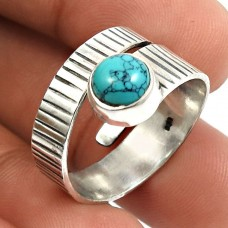 Turquoise Gemstone Ring 925 Sterling Silver Handmade Indian Jewelry V39