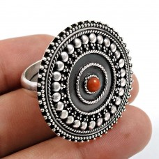 Coral Gemstone Ring 925 Sterling Silver Vintage Look Jewelry Z39