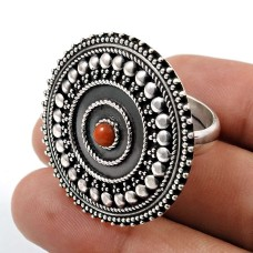 Coral Gemstone Ring 925 Sterling Silver Stylish Jewelry A40