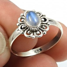 Rainbow Moonstone Gemstone Ring 925 Sterling Silver Traditional Jewelry V41