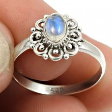 Rainbow Moonstone Gemstone Ring 925 Sterling Silver Ethnic Jewelry W41