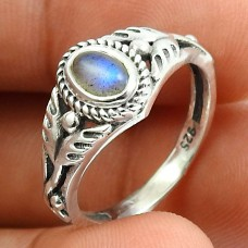 Labradorite Gemstone Ring 925 Sterling Silver Indian Handmade Jewelry I46