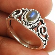 Labradorite Gemstone Ring 925 Sterling Silver Ethnic Jewelry E49