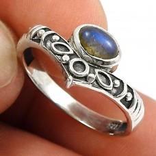 Labradorite Gemstone Ring 925 Sterling Silver Ethnic Jewelry S50