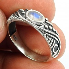 Rainbow Moonstone Gemstone Ring 925 Sterling Silver Indian Handmade Jewelry C52