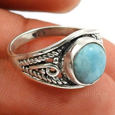 Larimar Gemstone Ring 925 Sterling Silver Indian Handmade Jewelry A54