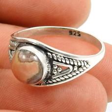 Rhodochrosite Gemstone Ring 925 Sterling Silver Indian Handmade Jewelry U54