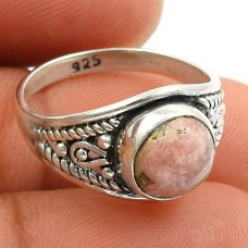 Rhodochrosite Gemstone Ring 925 Sterling Silver Indian Handmade Jewelry O55