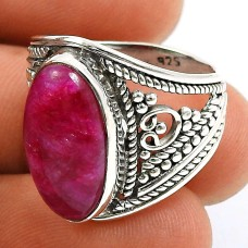 Ruby Gemstone Ring 925 Sterling Silver Indian Handmade Jewelry I56