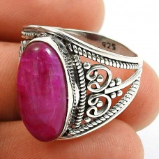 Ruby Gemstone Ring 925 Sterling Silver Indian Handmade Jewelry Q2