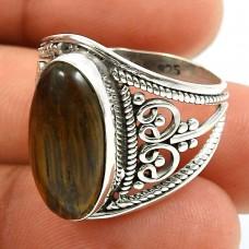Tiger Eye Gemstone Ring 925 Sterling Silver Tribal Jewelry H59