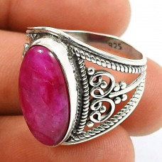 Ruby Gemstone Ring 925 Sterling Silver Vintage Jewelry S58