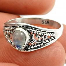 Rainbow Moonstone Gemstone Ring 925 Sterling Silver Vintage Jewelry M59