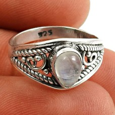 Rainbow Moonstone Gemstone Ring 925 Sterling Silver Traditional Jewelry N59