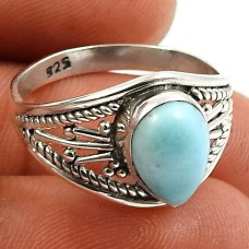 Larimar Gemstone Ring 925 Sterling Silver Ethnic Jewelry I60
