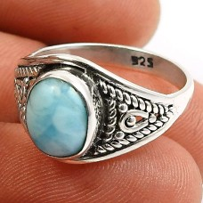 Larimar Gemstone Ring 925 Sterling Silver Handmade Indian Jewelry Z60