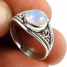 Rainbow Moonstone Gemstone Ring 925 Sterling Silver Indian Handmade Jewelry S61