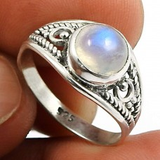 Rainbow Moonstone Gemstone Ring 925 Sterling Silver Handmade Indian Jewelry T61