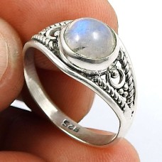 Rainbow Moonstone Gemstone Ring 925 Sterling Silver Traditional Jewelry V61