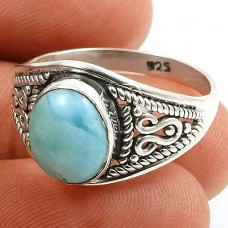 Larimar Gemstone Ring 925 Sterling Silver Indian Jewelry L62