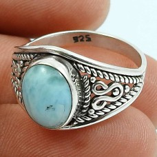 Larimar Gemstone Ring 925 Sterling Silver Indian Handmade Jewelry M62