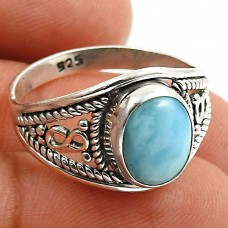 Larimar Gemstone Ring 925 Sterling Silver Stylish Jewelry C63