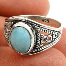Larimar Gemstone Ring 925 Sterling Silver Tribal Jewelry D63