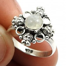 Rainbow Moonstone Gemstone Ring 925 Sterling Silver Stylish Jewelry W63