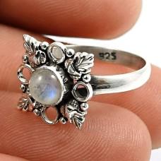 Rainbow Moonstone Gemstone Ring 925 Sterling Silver Handmade Jewelry Y63