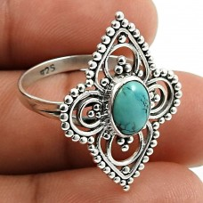 Turquoise Gemstone Ring 925 Sterling Silver Vintage Look Jewelry P64