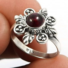 Garnet Gemstone Ring 925 Sterling Silver Traditional Jewelry H65