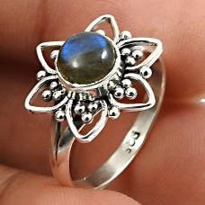 Labradorite Gemstone Flower Ring 925 Sterling Silver Handmade Jewelry W65