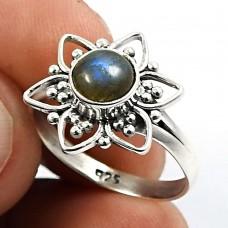 Labradorite Gemstone Flower Ring 925 Sterling Silver Indian Handmade Jewelry Y65
