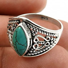 Turquoise Gemstone Ring 925 Sterling Silver Ethnic Jewelry M66