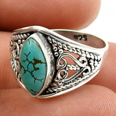 Turquoise Gemstone Ring 925 Sterling Silver Handmade Jewelry Q2