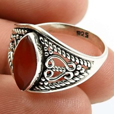 Carnelian Gemstone Ring 925 Sterling Silver Vintage Jewelry U66