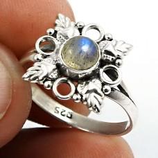 Labradorite Gemstone Ring 925 Sterling Silver Stylish Jewelry I67