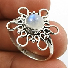 Rainbow Moonstone Gemstone Ring 925 Sterling Silver Indian Jewelry V67