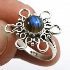Labradorite Gemstone Ring 925 Sterling Silver Handmade Indian Jewelry X67