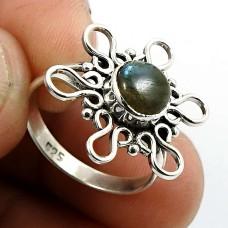 Labradorite Gemstone Ring 925 Sterling Silver Ethnic Jewelry A68