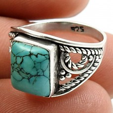 Turquoise Gemstone Ring 925 Sterling Silver Ethnic Jewelry K68