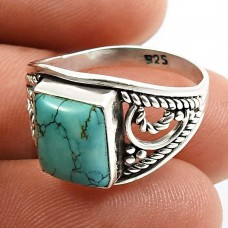 Turquoise Gemstone Ring 925 Sterling Silver Vintage Look Jewelry L68