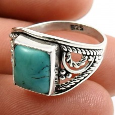 Turquoise Gemstone Ring 925 Sterling Silver Stylish Jewelry M68