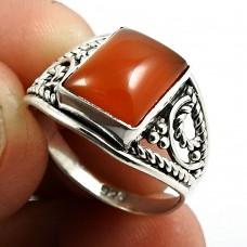 Carnelian Gemstone Ring 925 Sterling Silver Indian Jewelry P68