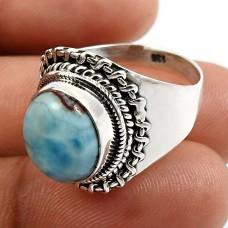 HANDMADE 925 Sterling Silver Jewelry Oval Shape Larimar Gemstone Ring Size 8 O20