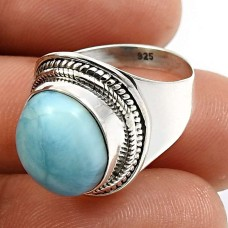 925 Sterling Fine Silver Jewelry Oval Shape Larimar Gemstone Ring Size 6 N21