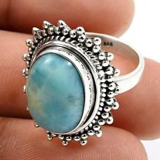 HANDMADE 925 Sterling Silver Jewelry Oval Shape Larimar Gemstone Ring Size 6 Q2