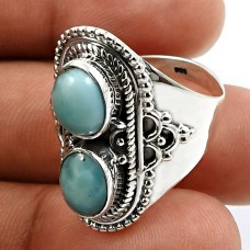 Oval Shape Larimar Gemstone Jewelry 925 Solid Sterling Silver Ring Size 7 T23